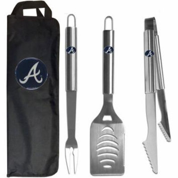 MLB 3-Piece BBQ Set with Canvas Case, Atlanta Braves