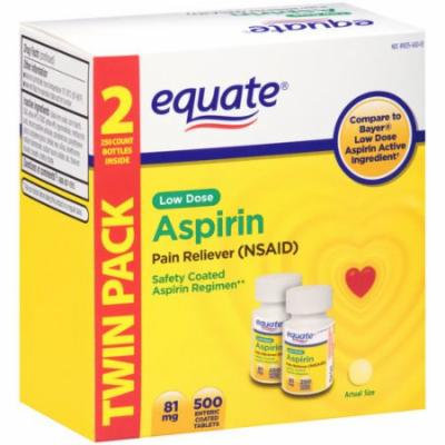 Equate Low Dose Aspirin Enteric Coated Tablets, 81mg, 250 count, 2 pack