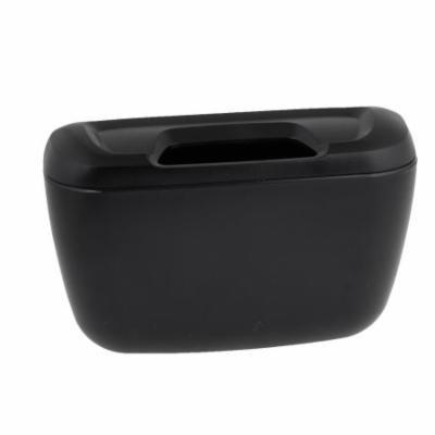 Car Interior Black Plastic Trash Bin Garbage Box Container w Hook