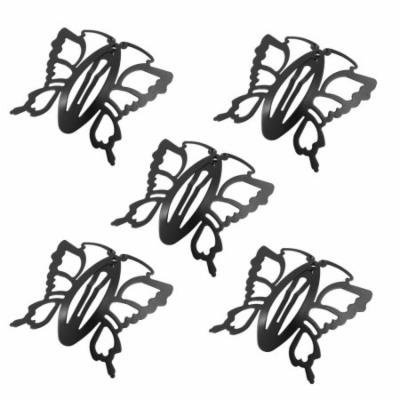 Woman Black Metal Butterfly Shaped Bendy Snap Hair Clip Barrettes 5 Pcs