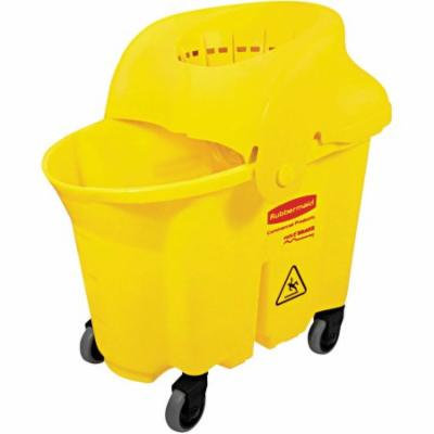 Rubbermaid Commercial WaveBrake Yellow Institutional Bucket/Strainer Combo, 8.75 gal