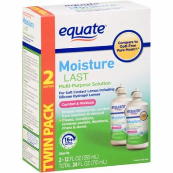 Equate Moisture Last Multi-Purpose Solution for Soft Contacts, 12 fl oz, 2 count