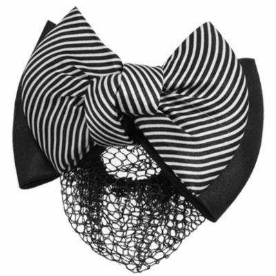 Black White Stripe Snood Net Hair Clip Barrette for Women
