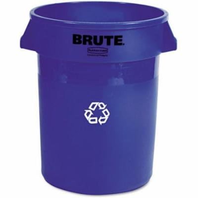 Rubbermaid Commercial Brute Recycling Round Blue Plastic Container, 32 gal