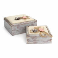 Pack of 2 Anitque Style Sqaure Trinket Boxes with Flowers 9.5