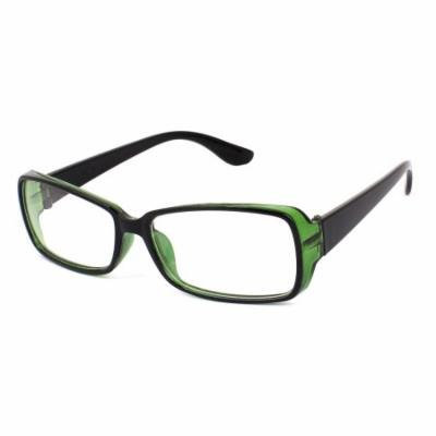 Lady Full Frame Single Bridge Rectangle Clear Lens Plain Glasses Black Green