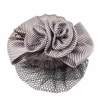 Lady Brown Stripe Pattern Flower Bowknot Snood Net Barrette Hair Clip Bun Cover