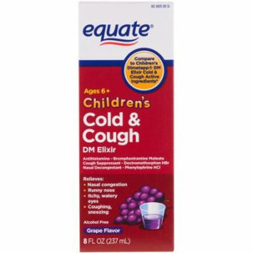 Equate Children's Cough & Cold Red Grape Flavor DM Elixir, 8ct