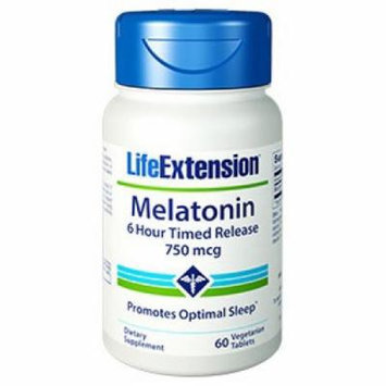 Melatonin 6 Hour Timed Release 750 mcg Life Extension 60 VCaps