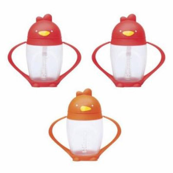 Lollacup Infant And Toddler Straw Cup, 3 Pack - Red/Orange/Red