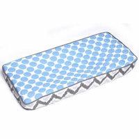 Bacati Ikat Muslin Fabric Changing Pad Cover, Zigzag Blue Dots