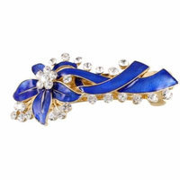 Gold Tone French Clip Blue Leaf Design Hair Clip Barrette forWoman Ladies