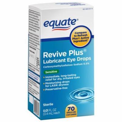 Equate Revive Plus Lubricant Eye Drops, 0.01 fl oz, 70 count