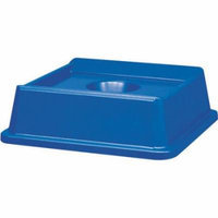 Rubbermaid Commercial Untouchable Square Bottle & Can Recycling Top, Blue