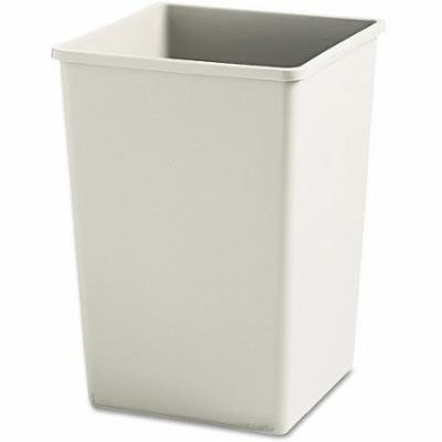 Rubbermaid Commercial Plaza Square Beige Plastic Waste Container Rigid Liner, 35 gal