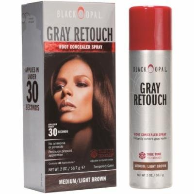 Black Opal Gray Retouch Root Concealer Spray, Medium/Light Brown, 2 oz