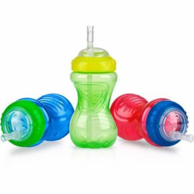 Nuby 3-Pack 10-oz Flexi-Straw Gripper Cup, Boy, BPA-Free