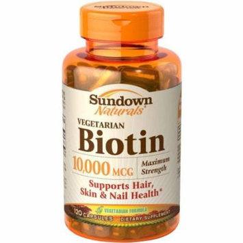Sundown Naturals Vegetarian Biotin Dietary Supplement Capsules, 10,000mcg, 120 count