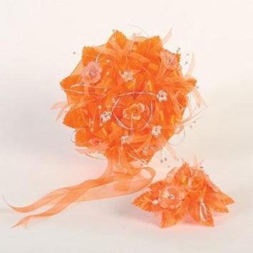 Angels Garment Orange Beads Flowers Headpiece Round Bouquet Set