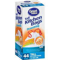 Great Value Drawstring Tall Kitchen Garbage Bags, 13 gal, 44 count