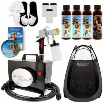 SALON PRO PLUS Sunless Airbrush SPRAY TANNING KIT 4 Simple Tan Solution Tent DVD