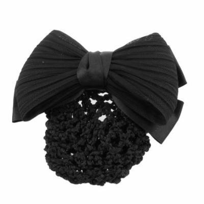 Woman Black Ruched Bowknot Snood Net Bun Cover Barrette Hair Clip