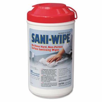 Nic Q94384 Sani-Wipe Surface Sanitizing Wipes 7. 75 x 10. 5 White 100 per Tub