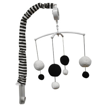 Bacati Dots/Pin Stripes Musical Mobile Color: Black/White
