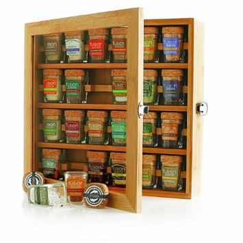 Artisan Salt Sampler FUSION - Collection of Gourmet Sea Salts 24 Mini-Jars Cork Tops in Bamboo Box