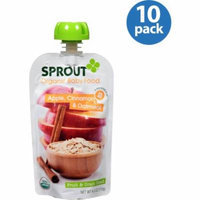 Sprout Organic Fruit & Grain Blend Apple, Cinnamon & Oatmeal Stage 2 Baby Food, 4.0 oz, (Pack of 10)