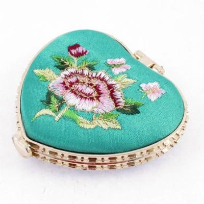 Heart Shape Embroidered Flower Pattern Mini Pocket Makeup Cosmetic Mirror Cyan
