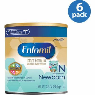 Enfamil Newborn baby formula - 12.5 oz Powder Can, Pack of 6