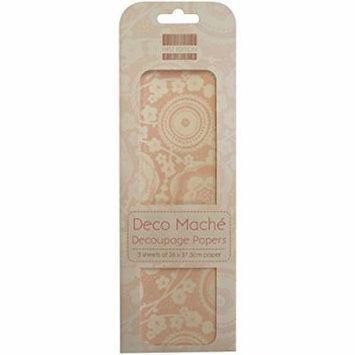 Trimcraft Deco Mache Paper Isabelle, 10.25-Inch by 14.75-Inch, Blossom, Pink, 3-Pack Multi-Colored