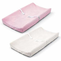 Summer Ultra Plush Change Pad Cover, Pink/White, 2 Count