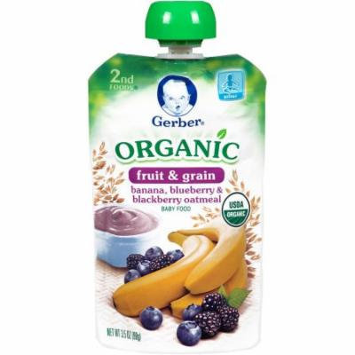 Gerber Organic 2nd Foods Fruit & Grain Banana, Blueberry & Blackberry Oatmeal Baby Food, 3.5 oz, (Pack of 12)