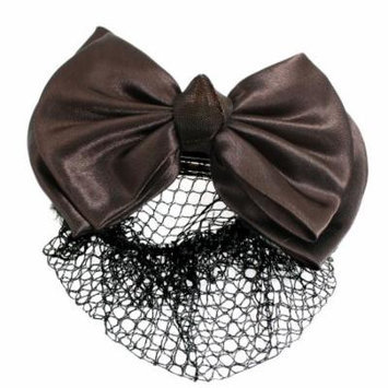Women Brown Ruffled Bowknot Decor Barrette Hair Clip Snood Net