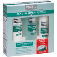 Equate Beauty Simple 3 Step Acne Treatment System + Mask, 4 pc