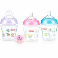 Nuby 3-Pack Natural Touch 6-oz Printed Baby Bottles with Comfort Orthodontic Pacifier, Girl, BPA-Free