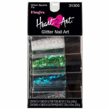 Fing'rs Heart 2 Art Glitter Nail Art, When Sparks Fly, 4 count, 0.13 oz