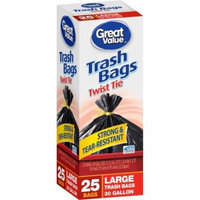 Great Value Large Twist Tie Trash Bags, 30 gal, 25 count