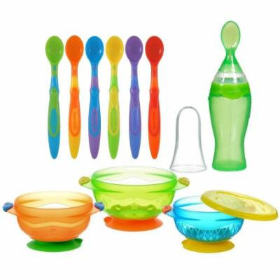 Munchkin Stay Put Suction Bowls with Easy Squeezy Spoon & Soft Tip Infant Spoons, Green