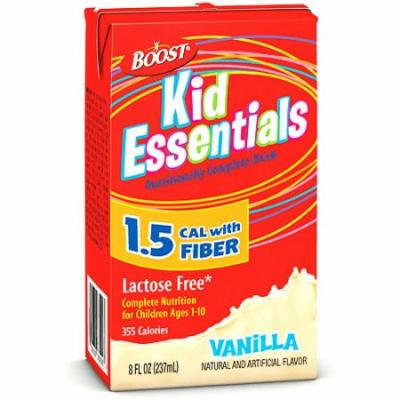 Boost Kid Essentials, Vanilla with Fiber, 8oz Boxes (Pack of 27)