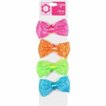 Girls' Sequin Bow Snap Hair Clips, 4 count