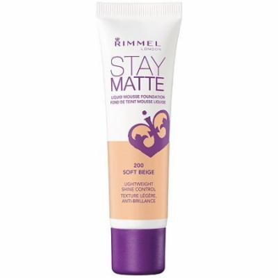 Rimmel London Stay Matte Liquid Mousse Foundation, 200 Soft Beige, 1 fl oz