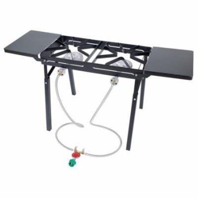 Bayou Classic Double Burner Outdoor Stove with Folding Side Shelves