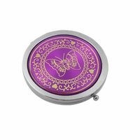 Lady Round Cosmetic Mirror W Butterfly Pattern 2-Sides