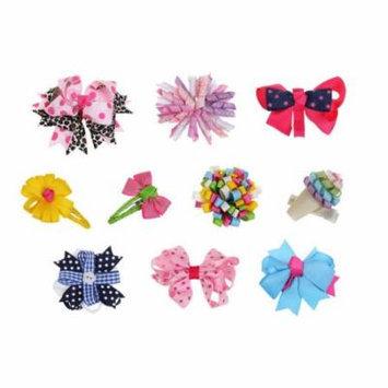 Bundle Monster 10pc Girl Baby Toddler Ribbon Bows Mixed Design Hair Clip Barette