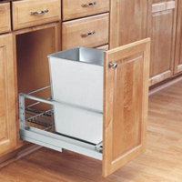 Rev-A-Shelf Single Soft Close Pull Out Stainless Steel 32 qt. Trash Can