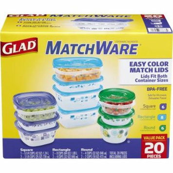 Glad Food Storage Containers, Matchware Variety Pack, 20 Pieces