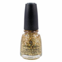 China Glaze 0.5oz Nail Polish Lacquer Clay Gold Glitter, DE-LIGHT, 1348